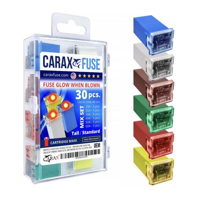 CARAX Glow Fuse. CARTRIDGE MAXI Fuse Mix Kit 30 pcs. Automotive Indicator Smart Fuse.