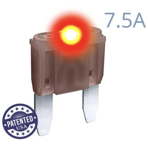 CARAX Glow Fuse. MINI Blade 7.5A 1 pcs. Small/APM/ATM Blade Fuse.