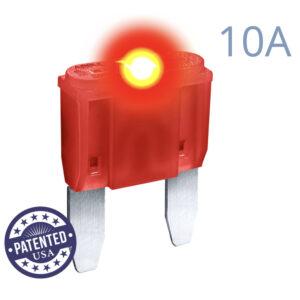 CARAX Glow Fuse. MINI Blade 10A 1 pcs. Small/APM/ATM Blade Fuse.