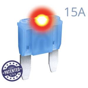 CARAX Glow Fuse. MINI Blade 15A 1 pcs. Small/APM/ATM Blade Fuse.