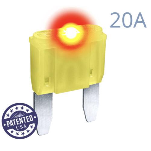 CARAX Glow Fuse. MINI Blade 20A 1 pcs. Small/APM/ATM Blade Fuse.
