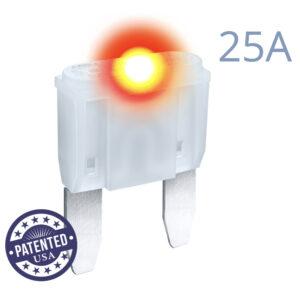 CARAX Glow Fuse. MINI Blade 25A 1 pcs. Small/APM/ATM Blade Fuse.