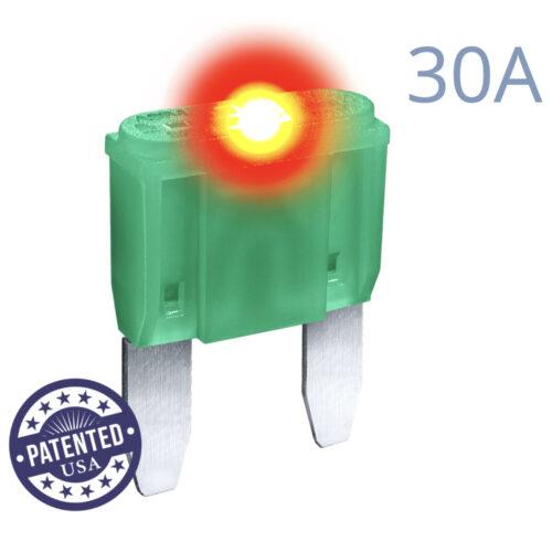 CARAX Glow Fuse. MINI Blade 30A 1 pcs. Small/APM/ATM Blade Fuse.