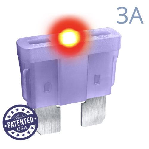 CARAX Glow Fuse. STANDARD Blade 3A 1 pcs. REGULAR/APR-ATS/ATC/ATO Blade Fuse.