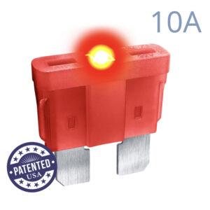 CARAX Glow Fuse. STANDARD Blade 10A 1 pcs. REGULAR/APR-ATS/ATC/ATO Blade Fuse.