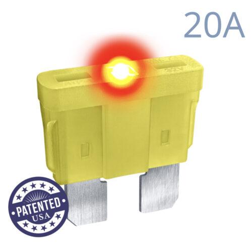 CARAX Glow Fuse. STANDARD Blade 20A 1 pcs. REGULAR/APR-ATS/ATC/ATO Blade Fuse.