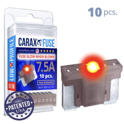CARAX Glow Fuse. LOW PRIFILE Blade 7.5A Set 10 pcs. MICRO/SUPER MINI/APS-ATT Blade Fuse.