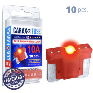 CARAX Glow Fuse. LOW PRIFILE Blade 10A Set 10 pcs. MICRO/SUPER MINI/APS-ATT Blade Fuse.