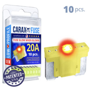 CARAX Glow Fuse. LOW PRIFILE Blade 20A Set 10 pcs. MICRO/SUPER MINI/APS-ATT Blade Fuse.
