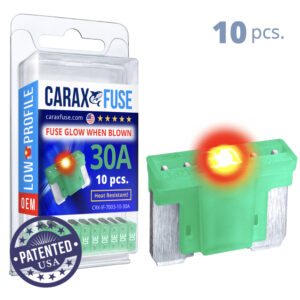 CARAX Glow Fuse. LOW PRIFILE Blade 30A Set 10 pcs. MICRO/SUPER MINI/APS-ATT Blade Fuse.