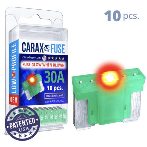 CARAX Glow Fuse. LOW PRIFILE Blade 30A Set 10 pcs. MICRO/SUPER MINI/APS-ATT Blade Fuse.