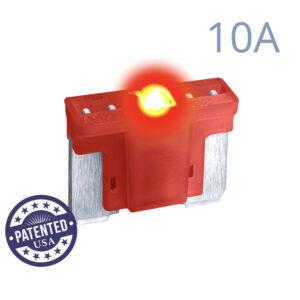 CARAX Glow Fuse. LOW PRIFILE MICRO Blade 10A 1 pcs. MICRO/SUPER MINI/APS-ATT Blade Fuse.