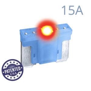 CARAX Glow Fuse. LOW PRIFILE MICRO Blade 15A 1 pcs. MICRO/SUPER MINI/APS-ATT Blade Fuse.