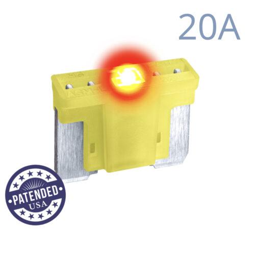 CARAX Glow Fuse. LOW PRIFILE MICRO Blade 20A 1 pcs. MICRO/SUPER MINI/APS-ATT Blade Fuse.