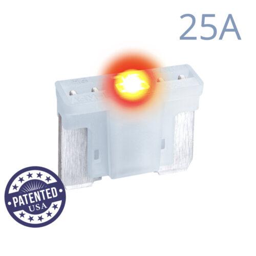 CARAX Glow Fuse. LOW PRIFILE MICRO Blade 25A 1 pcs. MICRO/SUPER MINI/APS-ATT Blade Fuse.