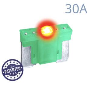 CARAX Glow Fuse. LOW PRIFILE MICRO Blade 30A 1 pcs. MICRO/SUPER MINI/APS-ATT Blade Fuse.