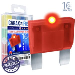 CARAX Glow Fuse. MAXI Blade Mix Kit 16 pcs. LARGE/AMP/ATC/ATO Blade Fuse.