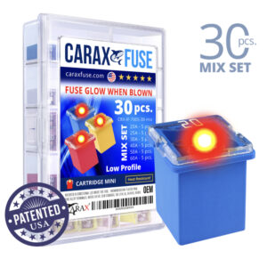 CARAX Glow Fuse. CARTRIDGE MINI Mix Kit 30 pcs. LOW PROFILE/MINI/FEMALE/FMX Fuse.