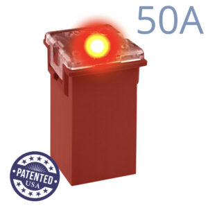 CARAX Glow Fuse. CARTRIDGE MAXI 50A 1 pcs. TALL/STANDARD/FEMALE/FMX Fuse.