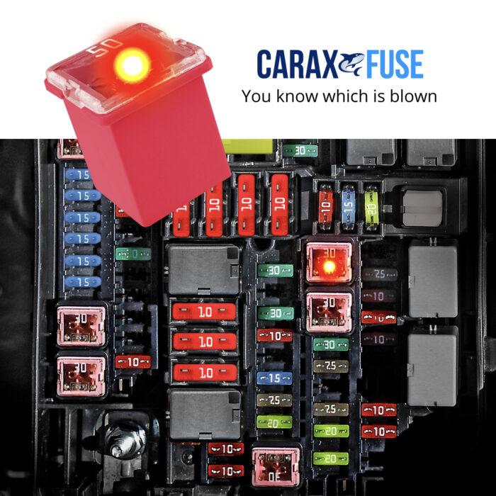CARAX Glow Fuse. Smart Automotive CARTRIDGE MINI Fuse. Easy Identification LED Light Fuse