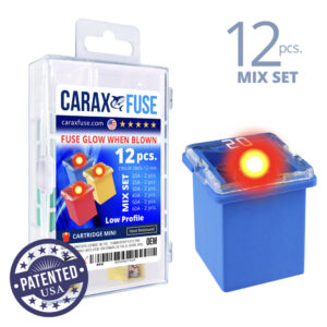CARAX Glow Fuse. CARTRIDGE Mix Kit 12 pcs. LOW PROFILE/MINI/FEMALE/FMX Fuse.