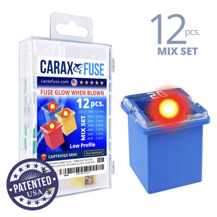 CARAX Glow Fuse. CARTRIDGE Mix Kit 12 pcs. LOW PROFILE/MINI/FEMALE/FMX Fuse.