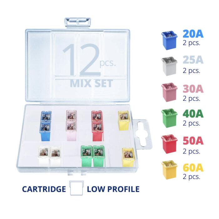 CARAX Glow Fuse. Smart CARTRIDGE Mix Fuse 12 pcs.: 20A, 25A, 30A, 40A, 50A, 60A