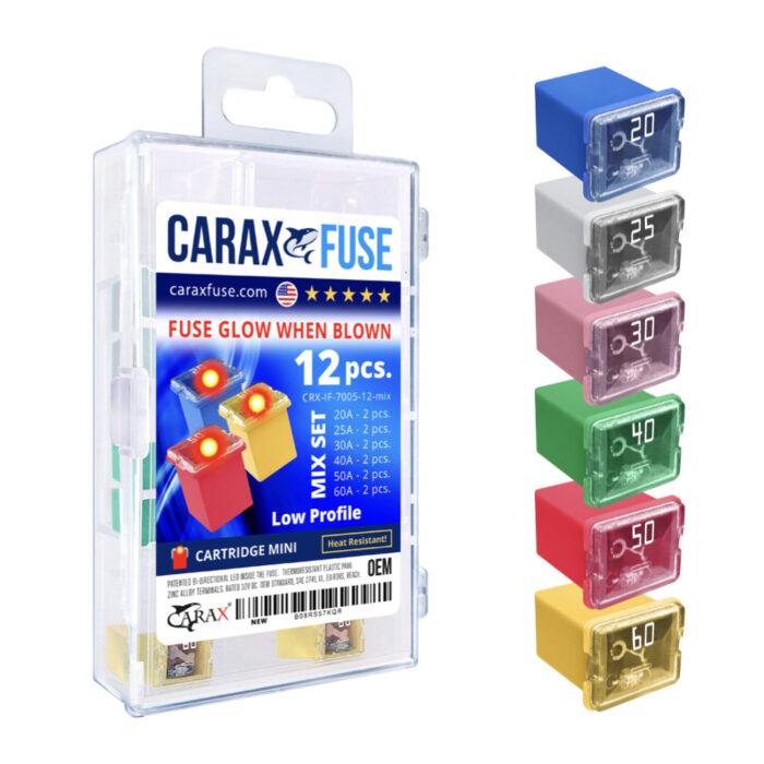 CARAX Glow Fuse. CARTRIDGE Fuse Mix Kit 12 pcs. Automotive Indicator Smart Fuse.