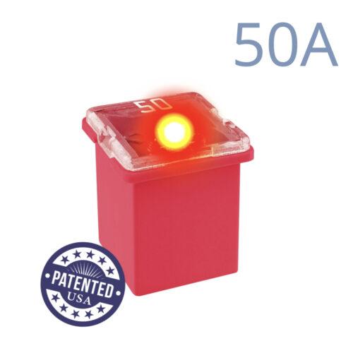 CARAX Glow Fuse. CARTRIDGE MINI 50A 1 pcs. LOW PROFILE/MINI/FEMALE/FMX Fuse.