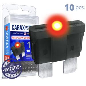 CARAX Glow Fuse. STANDARD Blade 1A Set 10 pcs. REGULAR/APR-ATS/ATC/ATO Blade Fuse.