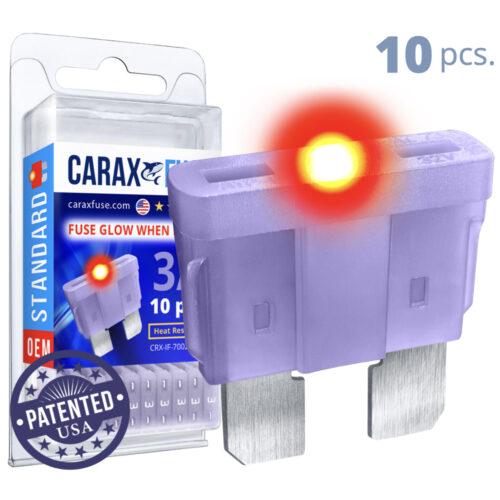 CARAX Glow Fuse. STANDARD Blade 3A Set 10 pcs. REGULAR/APR-ATS/ATC/ATO Blade Fuse.